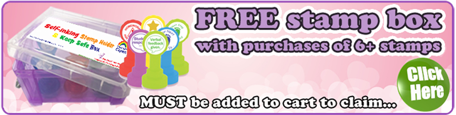 Free stamp holder box with orders of 6 + self-inking teacher stamps