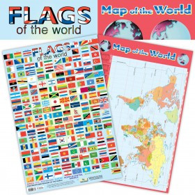 School Posters | 2-in-1 Flags and Map of the World poster