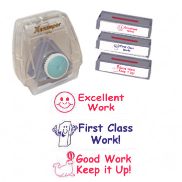 School Stamps | Xstamper 3-in-1 Teacher Stamp Set: Smiley Face Excellent Work,  First Class Work, Good Work Keep it Up!