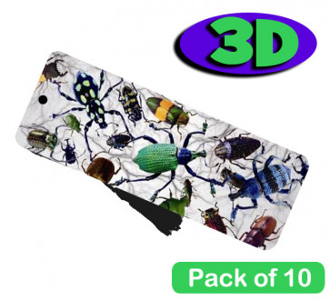 3D Bookmarks | Beetle Bugs 3 Dimensional Bookmarkers. Low Cost Kids Gifts. Pack of 10