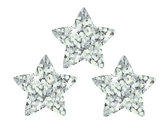 Silver Stars Sparkle Children's Stickers