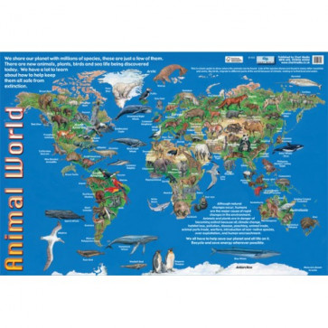 Kids Posters | World Map of Where Key Animals Live.