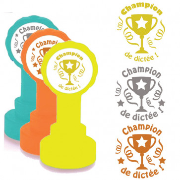 School Stamps | Champion de dictée Trophy Design in Gold, Silver/Grey, Bronze Ink