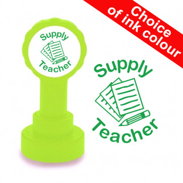 Teacher Stamp | Supply Teacher, Green or 12 Other Colours, Self-inking Stamp
