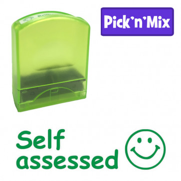 School stamps | Self assessd, Green Ink, Smiley Face Design Value Stamp