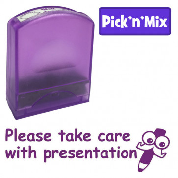 Teacher Stamps | Take care with presentation, Literacy reminder self-inking stamp.