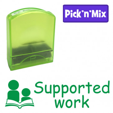School Stamps | Supported work, green ink, teacher stamp