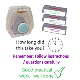 School Stamps | 3-in-1 Teacher Marking Stamp Set: How long did this take?, Remember to follow instructions.., Good Practical Work