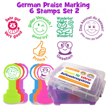 School Stamps | 6 German Teacher Praise Stampers Box Set