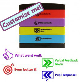 Teacher Stamps | 4-in-1 Feedback Marking Stamp - Verbal Feedback Given, Pupil Response, EBI, What went well