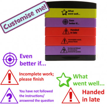 Teacher Stamps | 5-in-1 Feedback Marking Stamp - Even better if...(EBI), What went well... (WWW), Handed in late, Incomplete work, You have not read the instruction / question...