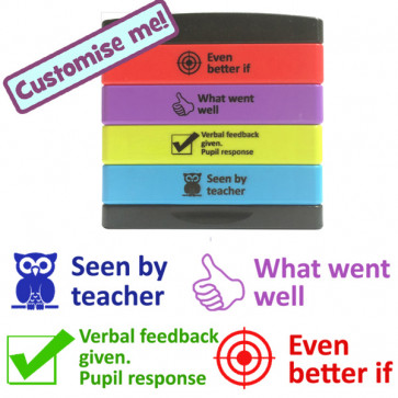 Teacher Multistamp | WWW, EBI, Verbal feedback. Pupil response, Seen by teacher. Marking Stamp