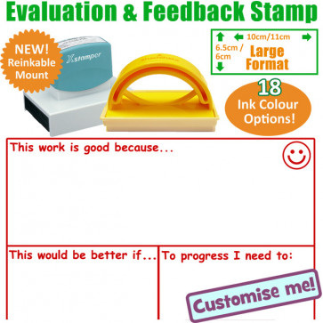 Teacher Stamp | Large Stamp With Areas for This is good because: This would be better if: To progress I need to...