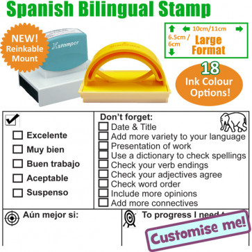 Large Teacher Stamps | Spanish / English Checklist Marking School Stamp