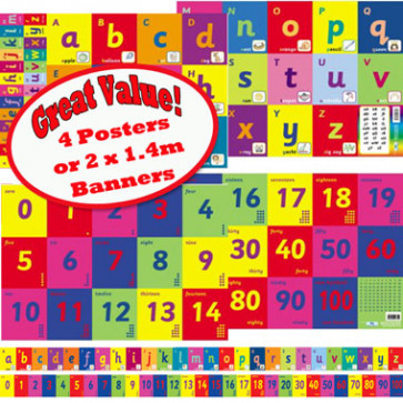 School Educational Posters   Alphabet and Number Charts or Banners for Classroom Displays