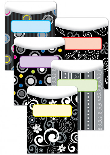 Classroom Organisation Resources | Library Pockets - Black and White