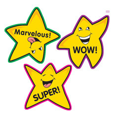 School Stickers | 100 Gold Star Smiley Praise Kids Stickers for Teachers
