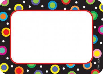 Name Label Badges / Stickers | Dots on Black Design Badges