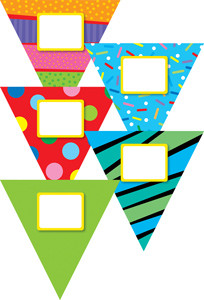 Classroom Display Resources | Double sided jumbo Poppin Patterns Pennants