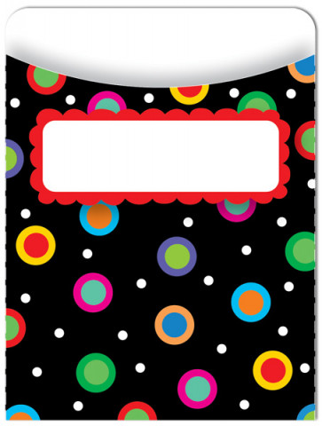 Classroom Decor | 35 x Dots on Black Design Library Pockets