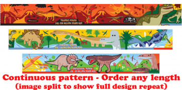 Self-Adhesive Classroom Borders | Dinosaur Timeline Design - Order by the metre