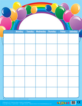 Classroom Teacher Resources | Balloons Design Wipe Off Calendar Poster