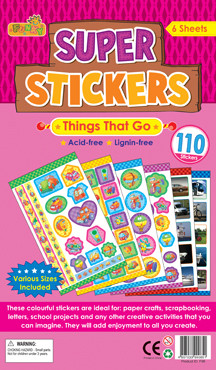Childrens Stickers | Things That Go / Transport Stickers for School Projects and Crafts