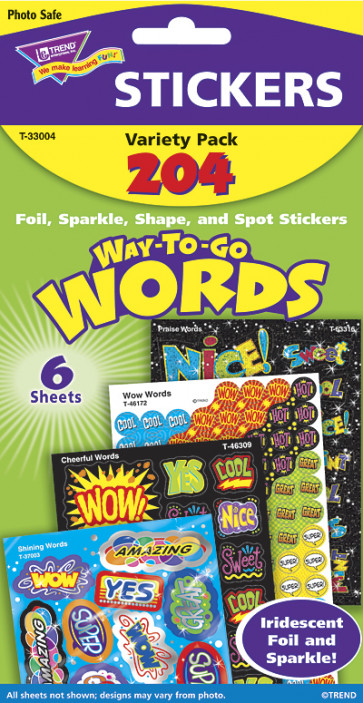 Teacher Stickers - Way to Go Praise Words for kids