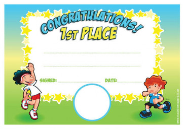 Personalised Certificates & Awards for Schools | Sports Day 1st Place Award - School logo custom option