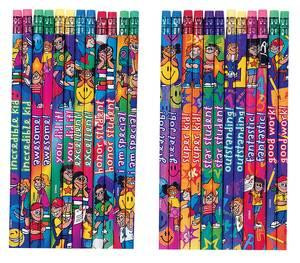 Teacher Class Gift & Prize | 12 Colourful HB pencils with praise word messages