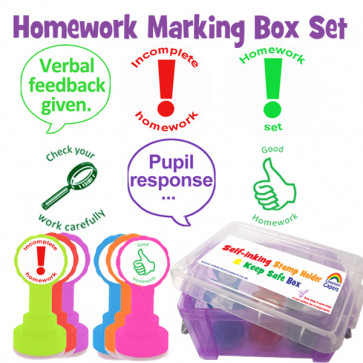 School Stamps | Homework Stamp Set, Verbal Feedback, Pupil response  - 6 stamper set