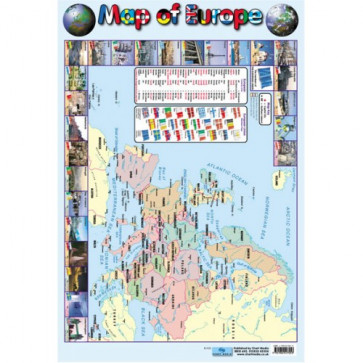 School Educational Posters   Map of Europe Chart Poster