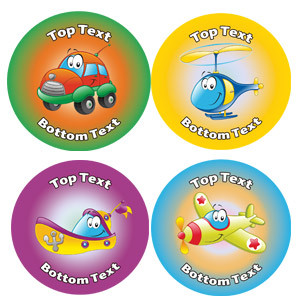 Personalised Stickers for Kids | Transport Variety of Designs to Customise for Teachers