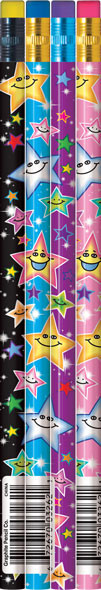 School Class Gifts & Prizes | Pack of 12 Colourful Happy Star Pencils