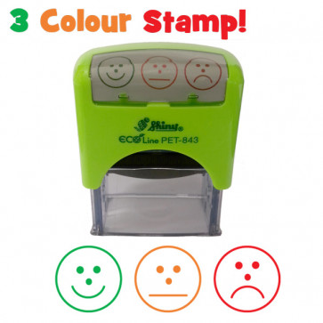 School Stamps | Multi-Colour Self-Assessment 3 Faces Teacher Stamper