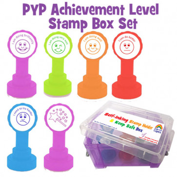 Teacher Stamps | International Baccalaureate PYP Achievement Level Stamp Box Set