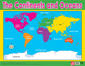 Wall Chart | Oceans and Continents Geography School Poster