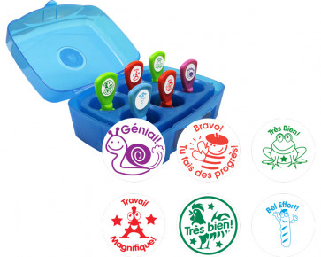 Stamp Box Set | French Language Teacher Stamps - 6 Self-inking Trodat Stamps