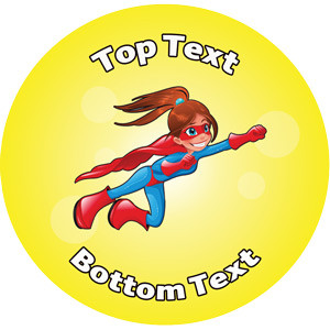 Personalised Stickers for Teachers | Girl Superhero Design to Customise for Kids