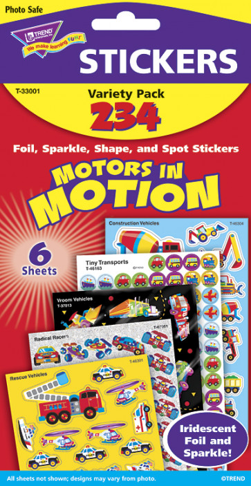 Childrens Stickers | Motors in Motion Kids Transport Stickers
