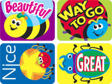 Teacher Reward Stickers | Bug Designs - Ladybird, Bee, Spider, Beetle - with Praise Words