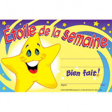 School Certificates | Etoile de la semaine / Star of the Week Awards