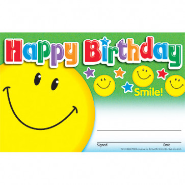 Kids Certificates | Happy Birthday Smiley Face