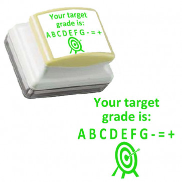 School Stamps | Your target grade is: A B C D E F G +=- Green, Self-inking Teacher Stamp