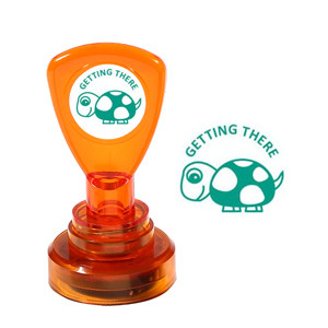 Teacher Self-Inking Stamper | Getting There, Cute Tortoise Design - Great for Teacher Marking