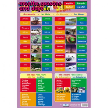 Teacher Classroom Posters   Months, Days, Seasons in French, German, Dutch and Spanish Reference Poster
