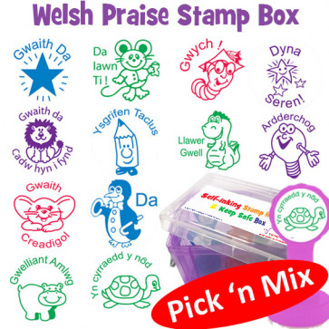 School Stamps | Welsh Teacher Marking and Praise Pick 'n Mix Selection Box - Xclamation Self-inking Stampers