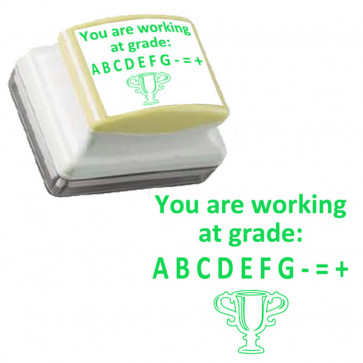 School Stamps | You are working at grade: A B C D E F G +=- Green, Self-inking Teacher Stamp