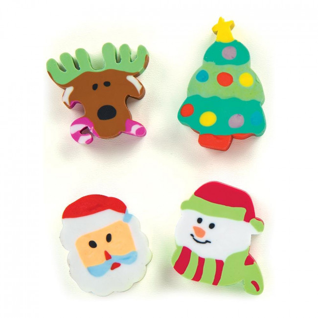 School Class Gifts | Christmas Fun Erasers - Packets of 8