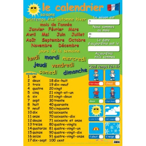Calendar Poster For Classroom : Educational posters french calendar and numbers poster